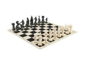 """チェスセット Viking Chess Set - Chess Board B/W- Size 17,3"""" + Roman Chess Pieces 3,75"""" B/W 送料無料 【並行輸入品】"""