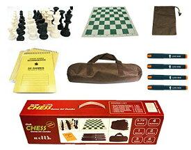 """チェスセット Professional Staunton Chess Set Combo, 3.75"""" King 4-Queens 20"""" Roll-up Board 22"""" Chess Bag 100 Moves Scorebook & Pens Tournament 送料無料 【並行輸入品】"""