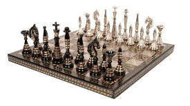 チェスセット Guruji Divinity Collectible Tribal Art Brass Chess Set in Velvet Storage Box. (12 X 12 in) 送料無料 【並行輸入品】