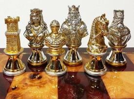 チェスセット Metal Medieval Times Crusades Knight Busts Chess Men Set Gold and Silver Color Plating - NO Board 送料無料 【並行輸入品】