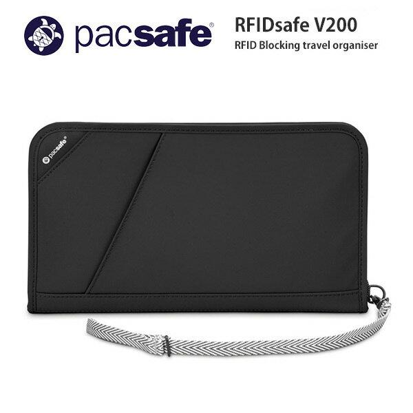 【ポイント10倍 8/19まで】Pacsafe 17 RFIDセーフ V200 Black スキミング防止 パスポートケース 貴重品ケース ストラップ付き 盗難防止機能搭載 海外旅行推奨【あす楽対応】