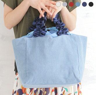 Large-capacity lady's bag canvas tote bag satin ribbon frill steering wheel tote bag L