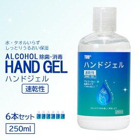 あす楽 ハンドジェル 6個セット 250ml ジェル 即納 在庫あり 除菌 消毒 速乾 速乾性 保湿 美容 アルコール うるおい ベタつかない 衛生商品 洗い流さない