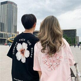 ペアルック tシャツ 可愛い ペアルック カップル トップス 大きい サイズ t シャツ ペア カップル 服 おしゃれ カップル ペア tシャツ おすすめ カップル お揃い プレゼント 夏 ペア カップル tシャツ カップル お揃い 服 オーバー ゆったり 大きい サイズ ピンク 黒 5分袖