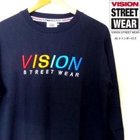 セール VISION STREET WEAR 3Dレインボーロゴ 刺繍 ロンTシャツ 長袖 ブラック ヴィジョン ストリートウェア メンズ レディース