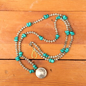 buttonworks TURQUOISE NECKLACE with FIVE CENTS COIN ボタンワークス ターコイズネックレス