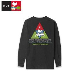 HUF×WOODSTOCK ウッドストック コラボ 長袖 ロンTシャツ ブラック バックプリント PEAKING L/S TEE メンズ レディース 音楽 フェス好きに 送料無料