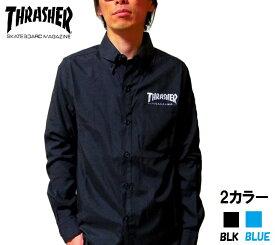 セール THRASHER オックスフォードシャツ スラッシャー 長袖シャツ 2カラー ブルー 青 ブラック 黒 S〜XLまで メンズ レディース ユニセックスth5032 送料無料