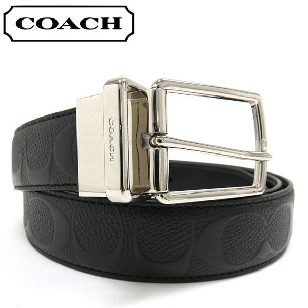 コーチ ベルト メンズ COACH リバーシブル シグネチャー レザー ブラック F55158 BLK 【当店全品送料無料♪】