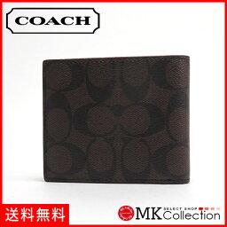 教練對開人COACH Wallet COMPACT ID WALLET IN SIGNATURE棕色×黑色f74993 ma/br