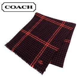 コーチ マフラー メンズ COACH CASHMERE HOUNDSTOOTH SCARF 千鳥格子 ワインレッド/ブラック/オレンジ F86074 EEL 【送料無料♪】【あす楽】