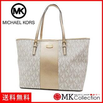 迈克尔套餐大手提包女士MICHAEL KORS bag中心条纹香草35H6MM0T2B VANNIL PLGOLD