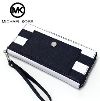 邁克爾套餐長錢包女士MICHAEL KORS Wallet深藍/白35S7SF1E3L NAVY/OPTICWHITE