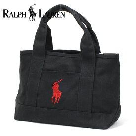 ポロ ラルフローレン ミニトートバッグ レディース メンズ スモールサイズ POLO RALPH LAUREN キャンバス ブラック レッド 959033A BLACK RED 【送料無料】