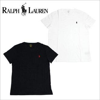 拉尔夫劳伦T恤人短袖POLO RALPH LAUREN V字领一点白黑色
