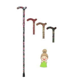 【総花柄アルミステッキ折りたたみ式】 土屋産業 杖