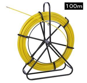 通線ワイヤー 100m 6mm 配線通し 通線ロッド リールタイプ 電線 通線工具 通線器