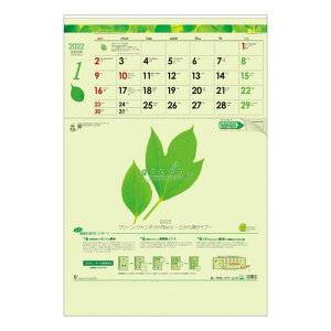 Calendar グリーン ジャンボ3ヶ月eco 壁掛け カレンダー 2022 年 上から順タイプ トーダン オフィス シンプル 実用 書き込み 令和4年暦 マシュマロポップ