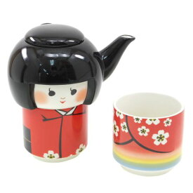 こけしのお茶セット ティーポット+ティーカップ 面白食器ギフト ティーフォーワン