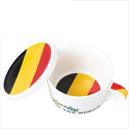 国旗デザイン ふた付マグカップ フラッグカフェ フタ付マグカップ ベルギー/BELGIUM お洒落デザイン食器 陶器製 テーブルウェア MADE IN JAPAN/日本製誕生日ギフト雑貨【取寄品】