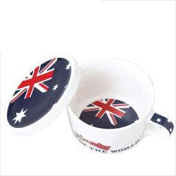 附帶附帶國旗設計蓋子的啤酒杯茶杯旗幟咖啡廳蓋子的啤酒杯茶杯澳大利亞/AUSTRALIA打扮設計餐具陶器製造餐具MADE IN JAPAN/日本製造生日禮物雜貨