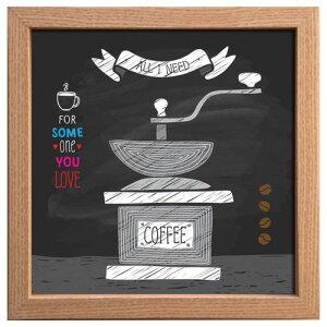 カフェ インテリア サイン フレーム コーヒーミル キャンバス アート ポスター 額付 美工社 お洒落 cafe チョークアート風 インテリアグッズ マシュマロポップ