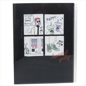 ジップファスナー付6ポケット A4 クリアファイル SPECIAL GIRLY ファイル クラックス 小学生 中学生 文具 かわいいグッズ マシュマロポップ