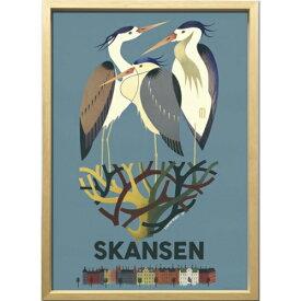 【スカンセンのサギ 1949年】 ZCS-52675 Scandinavian Art アートフレーム 美工社 52.5×72.5×3cm 額付き 北欧インテリア通販【取寄品】マシュマロポップ【TIK】