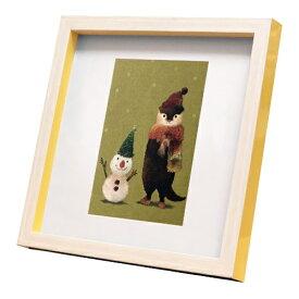 nao Square Frame カワウソ ぼくと雪だるま 菜生 アートフレーム 美工社 ZNO-61821 22.3×22.3×2.5cm ギフト 額付き インテリア【取寄品】マシュマロポップ