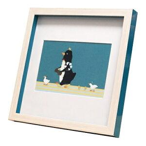 nao Square Frame ペンギン アヒル家族をお出迎え 菜生 アートフレーム 美工社 ZNO-61840 ギフト 額付き インテリア 取寄品 マシュマロポップ