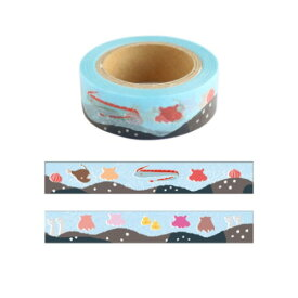 15mm マステ Animal Series マスキングテープ メンダコ アニマル グリーンフラッシュ DECOテープ プチギフト シンプルイラストグッズ メール便可 マシュマロポップ