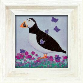 パフ オブ ブルー AB-04504 アリサ ブラック 動物画 24x24cm ギフト 絵画 鳥 額付き ポスターインテリア 取寄品 マシュマロポップ