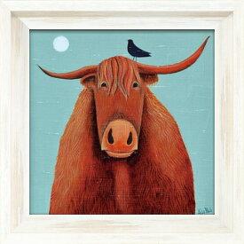ブルーン クー AB-07511 アリサ ブラック 動物画 36.5x36.5cm ギフト 絵画 牛 額付き ポスターインテリア 取寄品 マシュマロポップ