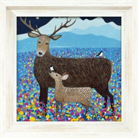 フラワーズ オブ ザ グレン AB-07512 アリサ ブラック 動物画 36.5x36.5cm ギフト 絵画 鹿 額付き ポスターインテリア 取寄品 マシュマロポップ
