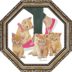 八角 ミニゲル アートフレーム キューティー キティ1 エミリー アダムス 動物画 EA-02551 19.5x19.5cm 猫 ギフト 額付き ポスターインテリア 取寄品 マシュマロポップ