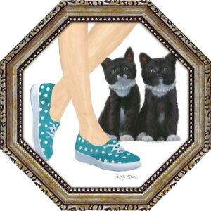 八角 ミニゲル アートフレーム キューティー キティ3 エミリー アダムス 動物画 EA-02552 19.5x19.5cm 猫 ギフト 額付き ポスターインテリア 取寄品 マシュマロポップ