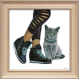 キューティー キティ5 EA-05018 エミリー アダムス 動物画 31x31cm おしゃれ 猫 絵画 額付き ポスターインテリア 取寄品 マシュマロポップ