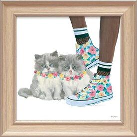 キューティー キティ7 EA-05019 エミリー アダムス 動物画 31x31cm おしゃれ 猫 絵画 額付き ポスターインテリア 取寄品 マシュマロポップ