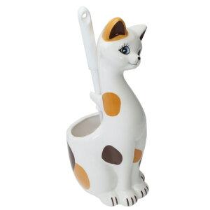 インテリア雑貨 トイレブラシ立て 三毛猫 ねこ サンアート ブラシ付き プレゼント マシュマロポップ