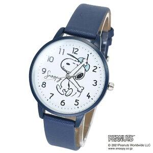 腕時計 スヌーピー ローリング ハンドウォッチ ネイビー ピーナッツ フィールドワーク レザーバンド メンズ レディース 男性 女性 かわいい プレゼント ギフト 学生 マシュマロポップ