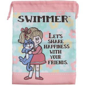 巾着 スイマー SWIMMER きんちゃくポーチ L ミント ケイカンパニー 小物入れ かわいい 女の子向け メール便可 マシュマロポップ