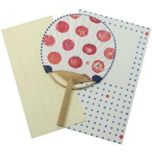 サマーカード 一筆箋付き ミニ 竹うちわカード トマト オリエンタルベリー 暑中見舞い 定型内郵便 日本製 かわいい メール便可 マシュマロポップ