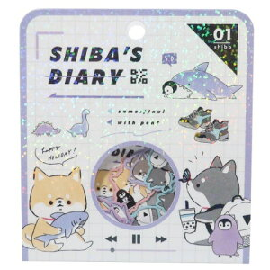 ミニ シールセット フレークシール SHIBA'S DIARY カミオジャパン デコシール かわいい 小学生 中学生 女の子向け メール便可 マシュマロポップ