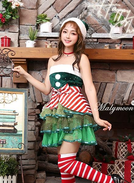 【あす楽】 クリスマス ツリー サンタ コスプレ 【3073】| サンタコス クリスマスツリー サンタクロース プレゼント カラフル ワンピース コスチューム 仮装 衣装 セクシー キラキラ 可愛い かわいい パーティー 赤 緑 大人 レディース マリー ムーン Rudegirl 2018