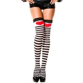 【MUSICLEGS】 ボーダー ニーハイ ソックス 【ML4730】| コスプレ ボーダー柄 ハート ストッキング 厚手 赤 タイハイ ソックス 靴下 黒 白 ブラック ひざ上 太もも ふともも丈 リブ 肉盛り セクシー 可愛い かわいい 大人 レディース コスチューム 衣装 仮装