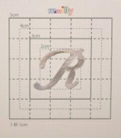 【スワロフスキー37個付イニシャルシール】(スマホケース&カバー デコ電用)大文字SV(大)R