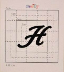 【スワロフスキー37個付イニシャルシール】(オリジナルケース&カバー)大文字BK(大)H