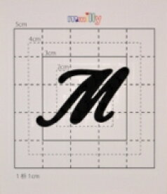 【スワロフスキー37個付イニシャルシール】(オリジナルケース&カバー)大文字BK(大)M