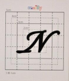 【スワロフスキー37個付イニシャルシール】(オリジナルケース&カバー)大文字BK(大)N