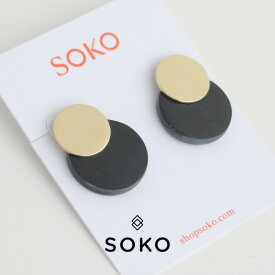 【40%★OFF】SOKO ソコ コントラストコインスタッドピアス FW1900043B【RCP】
